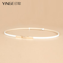 Belt / belt / chain top layer leather female belt Versatile Single loop Youth, middle age and old age a hook other Glossy surface 0.7cm alloy Bare elastic Yinge YG0009 Summer of 2019