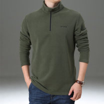 Sweater Fashion City Teng Pai M L XL 2XL 3XL 4XL Solid color Socket routine stand collar spring easy leisure time youth Basic public routine Polyester 100% Embroidery No iron treatment Spring 2021 simple style