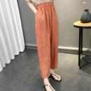 Casual pants Orange green black white Average size Summer 2020 Ninth pants Wide leg pants High waist commute Thin money acy21297 Ann Choi Yin pocket Flax 100% Pure e-commerce (online only)