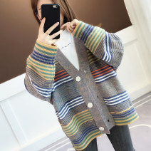 Wool knitwear Winter of 2019 Average size Coffee, royal blue, light purple Long sleeves singleton  Cardigan acrylic fibres 30% and below Medium length routine commute easy V-neck routine stripe Single breasted Korean version acy19867 18-24 years old Ann Choi Yin Bright thread stitched button