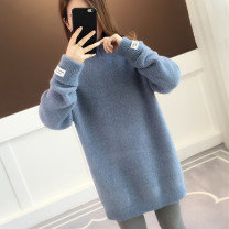 sweater Winter of 2019 Average size Blue green pink camel grey beibai scarlet Long sleeves Socket singleton  Medium length polyester fiber 71% (inclusive) - 80% (inclusive) High collar thickening commute routine Solid color Straight cylinder Regular wool Keep warm and warm 18-24 years old acy20116