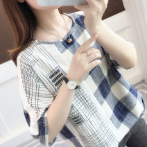 T-shirt Blue red Khaki light blue light pink Average size Summer of 2019 Short sleeve Crew neck easy Regular routine commute cotton 96% and above 18-24 years old Korean version youth Thick horizontal stripe fine horizontal stripe vertical stripe grid color matching Ann Choi Yin acy19305 Cotton 100%