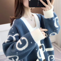 Wool knitwear Winter 2020 Average size Blue red beibai Pink Long sleeves singleton  Cardigan Viscose 51% (inclusive) - 70% (inclusive) Regular routine commute easy V-neck routine stripe Single breasted acy22695 18-24 years old Ann Choi Yin Button Pure e-commerce (online only)