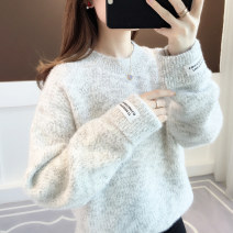sweater Winter of 2019 Average size Blue flower green flower grey pollen Long sleeves Socket singleton  Regular polyester fiber 71% (inclusive) - 80% (inclusive) Crew neck thickening commute routine Solid color Self cultivation Regular wool Keep warm and warm 18-24 years old Ann Choi Yin acy19838