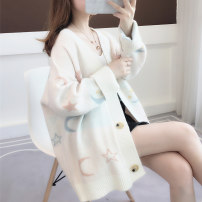 Wool knitwear Autumn of 2019 Average size Long sleeves singleton  Cardigan other More than 95% Medium length routine commute easy V-neck routine Cartoon animation Single breasted Korean version 18-24 years old Ann Choi Yin Embroidered thread button Other 100% Pure e-commerce (online only)
