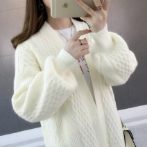Wool knitwear Spring of 2019 Average size Light camel blue purple rice white pink yellow red black green orange Long sleeves singleton  Cardigan acrylic fibres 51% (inclusive) - 70% (inclusive) Medium length routine commute easy V-neck bishop sleeve Solid color Korean version acy18936 18-24 years old