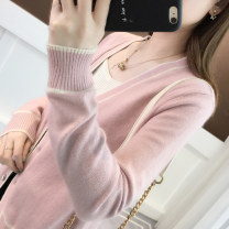 Wool knitwear Spring of 2019 Average size Long sleeves singleton  Cardigan acrylic fibres 51% (inclusive) - 70% (inclusive) Regular routine commute Straight cylinder V-neck routine stripe Single breasted Korean version 18-24 years old Ann Choi Yin Stitched thread button Pure e-commerce (online only)