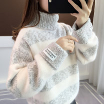 sweater Winter of 2019 Average size Blue Green Camel pink grey 6 Long sleeves Socket singleton  Regular polyester fiber 71% (inclusive) - 80% (inclusive) High collar thickening commute routine stripe Straight cylinder Regular wool Keep warm and warm 18-24 years old Ann Choi Yin acy20019 Splicing