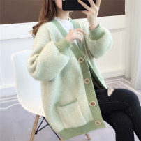 Wool knitwear Autumn of 2019 Average size The fruit is green, its color is pink and blue Long sleeves singleton  Cardigan nylon 30% and below Medium length routine commute easy V-neck routine Wave point Single breasted Korean version acy19581 18-24 years old Ann Choi Yin Stitched pocket button