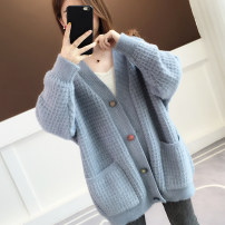 Wool knitwear Winter of 2019 Average size Blue Khaki pink beibai army green Long sleeves singleton  Cardigan acrylic fibres 30% and below Medium length thick commute easy V-neck routine Solid color Single breasted Korean version acy19811 18-24 years old Ann Choi Yin Pocket button