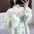 Wool knitwear Winter of 2019 Average size Pollen flower, coffee flower, purple flower, green flower ash Long sleeves singleton  Cardigan nylon 30% and below Medium length thick commute easy V-neck routine Solid color Single breasted Korean version acy19732 18-24 years old Ann Choi Yin