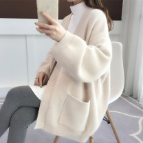 Wool knitwear Spring of 2019 Average size Yellow pink apricot scarlet Long sleeves singleton  Cardigan nylon 30% and below Medium length thick commute easy V-neck routine Solid color Single breasted Korean version acy18821 18-24 years old Ann Choi Yin Pocket screw button Pure e-commerce (online only)
