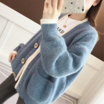 Wool knitwear Spring of 2019 Average size Beibai scarlet haze blue pink fruit green rose red Long sleeves singleton  Cardigan nylon 30% and below Regular routine commute easy V-neck bishop sleeve Solid color Single breasted Korean version acy18837 18-24 years old Ann Choi Yin Stitched pocket button