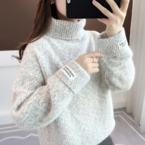 sweater Winter of 2019 Average size Long sleeves Socket singleton  Regular polyester fiber 71% (inclusive) - 80% (inclusive) High collar thickening commute routine other Straight cylinder Regular wool Keep warm and warm 18-24 years old Ann Choi Yin thread Polyester 71.8% polyamide 28.2%