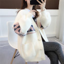 Wool knitwear Winter of 2019 Average size Pink fruit green beibai blue Long sleeves singleton  Cardigan nylon 30% and below Medium length thick commute Self cultivation V-neck routine Color matching Single breasted Korean version acy19836 18-24 years old Ann Choi Yin Polyester 71.8% polyamide 28.2%