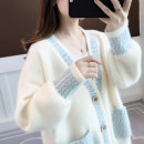 Wool knitwear Winter of 2019 Average size Long sleeves singleton  Cardigan nylon 30% and below Medium length thick commute easy V-neck routine Color matching Single breasted Korean version 18-24 years old Ann Choi Yin Pocket screw button Polyester 71.8% polyamide 28.2% Pure e-commerce (online only)