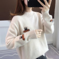 sweater Winter of 2019 Average size Apricot pink blue yellow Long sleeves Socket singleton  Regular acrylic fibres 51% (inclusive) - 70% (inclusive) Half high collar thickening commute routine Cartoon animation Straight cylinder Regular wool Keep warm and warm 18-24 years old Ann Choi Yin acy20119
