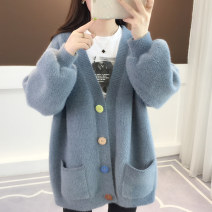 Wool knitwear Spring of 2019 Average size Yellow red Beige haze blue pink fruit green Long sleeves singleton  Cardigan nylon 30% and below Medium length routine commute easy V-neck routine Solid color Single breasted Korean version acy18811 18-24 years old Ann Choi Yin Threaded button