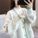 Wool knitwear Winter of 2019 Average size Long sleeves singleton  Cardigan nylon 30% and below Medium length thick commute easy V-neck routine Solid color Single breasted Korean version 18-24 years old Ann Choi Yin Pocket screw button Polyester 71.8% polyamide 28.2% Pure e-commerce (online only)