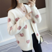 Wool knitwear Autumn of 2018 Average size Purple white purple heart white red heart Long sleeves singleton  Cardigan nylon 81% (inclusive) - 90% (inclusive) have cash less than that is registered in the accounts routine commute easy V-neck routine heart-shaped Korean version acy18228 25-29 years old