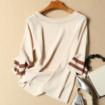 T-shirt White, black, apricot Average size Summer of 2018 elbow sleeve Crew neck Straight cylinder Regular pagoda sleeve commute other 96% and above 18-24 years old Korean version classic Thick horizontal stripe Ann Choi Yin Other 100% Pure e-commerce (online only)