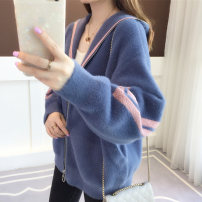 Wool knitwear Autumn of 2018 Average size Long sleeves singleton  Cardigan nylon 81% (inclusive) - 90% (inclusive) Regular thickening commute Straight cylinder Hood Bat sleeve Color matching zipper Simplicity 25-29 years old Ann Choi Yin jacquard weave Pure e-commerce (online only)
