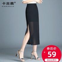 skirt Summer of 2019 4XL S M L XL 2XL 3XL Black (80cm single fork) Mid length dress High waist skirt Solid color Type A 25-29 years old KJL-5001 Chiffon Kaji deer zipper