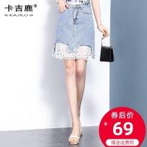 skirt Spring 2021 S M L XL 2XL Retro Blue Short skirt commute High waist Denim skirt Type H Denim Kaji deer Patchwork lace Korean version