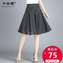 skirt Summer 2021 M L XL 2XL 3XL 4XL Polka Dot Decor 1 Decor 2 Decor 5 Decor 6 Decor 7 Decor 8 Middle-skirt commute High waist A-line skirt Decor Type A 21KJL1823 Kaji deer printing Korean version