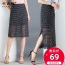 skirt Summer of 2019 S M L XL 2XL 3XL Wave point short wave point long Mid length dress commute High waist skirt Dot Type A Chiffon Kaji deer Zipper split Korean version