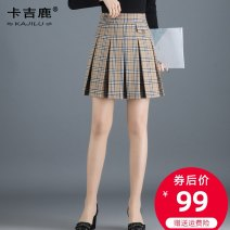 skirt Spring 2020 M L XL XXL 3XL 4XL lattice Short skirt commute High waist Pleated skirt lattice Type A 25-29 years old KJS2003 Kaji deer Korean version