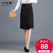 skirt Spring 2020 M L XL 2XL 3XL 4XL black Mid length dress commute High waist A-line skirt Solid color Type A 25-29 years old Kaji deer Split Ol style