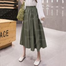 skirt Summer 2020 S,M,L,XL Army green, khaki, blue, black commute High waist A-line skirt Solid color Type A 18-24 years old 51% (inclusive) - 70% (inclusive) other cotton Korean version