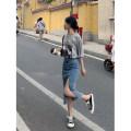skirt Summer 2021 S,M,L,XL blue Mid length dress commute G9Z131548 91% (inclusive) - 95% (inclusive) cotton Korean version