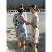 Dress Summer 2021 S,M,L,XL Short skirt singleton  Short sleeve commute Korean version More than 95% polyester fiber