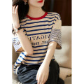 T-shirt Apricot S M L XL Summer 2021 Short sleeve Crew neck easy Regular routine commute other 96% and above 25-29 years old Retro Thin horizontal stripe dvdk DK71589 Other 100% Pure e-commerce (online only)
