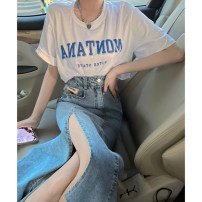 skirt Summer 2021 S M L Denim blue denim black longuette commute High waist A-line skirt Type A 25-29 years old DK71910-DY More than 95% dvdk other Pocket patch Korean version Other 100% Pure e-commerce (online only)