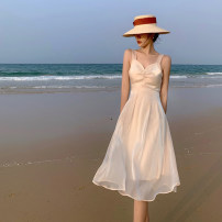 Dress Summer 2021 Apricot S M L Mid length dress singleton  Sleeveless commute V-neck High waist Solid color Socket A-line skirt routine camisole 25-29 years old Type A dvdk Korean version DK71912-DY More than 95% other Other 100% Pure e-commerce (online only)