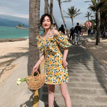 Dress Spring 2021 Picture color S,M,L,XL Short skirt singleton  Sleeveless commute One word collar High waist Decor Socket A-line skirt routine camisole 18-24 years old Type A Other Retro printing GTZm96174 More than 95% Chiffon other