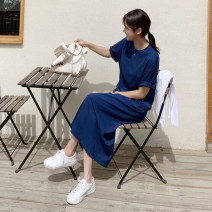 Dress Summer 2020 Royal Blue Orange S M L XL Mid length dress singleton  Short sleeve commute Crew neck Loose waist Solid color Socket routine 25-29 years old Type H lfOa Retro L10564F More than 95% other Other 100% Pure e-commerce (online only)