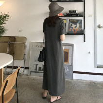 Dress Summer 2020 dark gray S M L XL longuette singleton  Short sleeve commute Crew neck Loose waist Solid color Socket One pace skirt routine 25-29 years old Type H lfOa Simplicity More than 95% other Other 100% Pure e-commerce (online only)