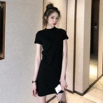 Dress Spring 2020 Black Purple XL S M L Mid length dress singleton  Short sleeve commute Half high collar middle-waisted Solid color Socket One pace skirt routine Others 25-29 years old Type H lfOa Retro L10335F More than 95% other Other 100% Pure e-commerce (online only)