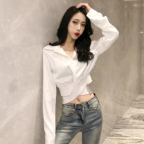 shirt White black XS S M Autumn of 2019 other 96% and above Long sleeves commute Short style (40cm < length ≤ 50cm) Polo collar Socket routine Solid color 18-24 years old High waist type lfOa Retro Other 100% Pure e-commerce (online only)