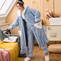 Pajamas / housewear set female 160(M) 165(L) 170(XL) 175(XXL) Polyester (polyester) Long sleeves Sweet pajamas winter thickening heart-shaped trousers double-breasted youth 2 pieces rubber string More than 95% Bejirog  340g Polyester 100% Autumn 2020 Pure e-commerce (online only)
