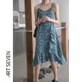 Dress Summer 2021 Black, blue S,M,L Mid length dress singleton  Sleeveless commute Decor Socket A-line skirt Type A Korean version printing 31% (inclusive) - 50% (inclusive) Chiffon