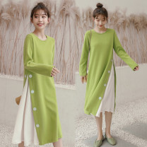 Dress Shu Shibu M L XL Korean version Long sleeves have more cash than can be accounted for autumn Solid color polyester fiber