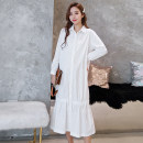 Dress Shu Shibu White black Average size Korean version Long sleeves have more cash than can be accounted for spring Lapel Solid color Space cotton VyFAQ