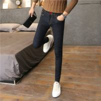 Jeans Youth fashion Others 27,28,29,30,31,32,33 Black blue routine Micro bomb Regular denim trousers Other leisure spring youth Medium low back Slim feet tide 2020 Little straight foot zipper washing Wash with water, no iron treatment