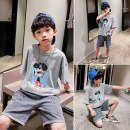 suit Dobdy Cartoon grey suit cartoon black suit 110cm 120cm 130cm 140cm 150cm 160cm 170cm male summer leisure time Short sleeve + pants 2 pieces Thin money There are models in the real shooting Socket nothing Cartoon animation other elder Giving presents at school DBD-20411 Class B Other 100%