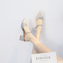 Sandals 33 34 35 36 37 38 39 40 Blue green top layer leather Baotou Thick heel Middle heel (3-5cm) Summer 2020 Trochanter Korean version Adhesive shoes Youth (18-40 years old) rubber daily Back space Hollow Two layer pigskin Two layer pigskin Fashion sandals Pure e-commerce (online only)